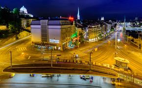Center Zurigo, Svizzera, notte