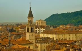 Gorizia, Friuli Venezia Giulia, Italy, Гориция, Фриули-Венеция-Джулия, Италия, башня, дома, здания, крыши