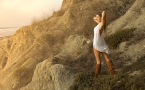 model, pose, Boots, coast, mood