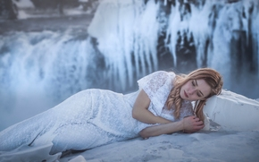 girl, model, dress, Iceland, waterfall, ice, winter, frost