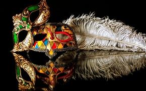 carnevale, Maschera, piuma, riflessione, sfondo nero