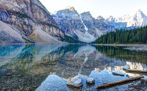 jezioro, Góry, drzew, krajobraz
