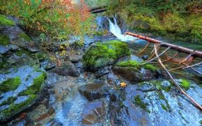 речка, водопад, скалы, камни, природа