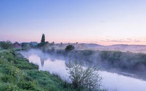 sunset, river, fog, Fog on the River Avon, landscape