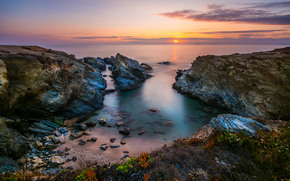 Portugal, West Coast, sea, Rocks, sunset, landscape