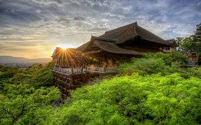 Kiyomizu-dera, temple, sunset, Kyoto, Japan