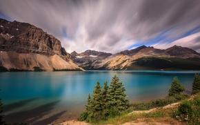 Alberta, Parque Nacional Banff, Lago Bow, Canadá, puesta del sol, lago, Montañas, paisaje