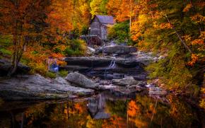 Glade Creek Grist Mill, West Virginia, mulino ad acqua, cascata, Rocce, paesaggio