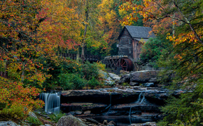 Glade Creek Grist Mill, West Virginia, water mill, waterfall, Rocks, landscape