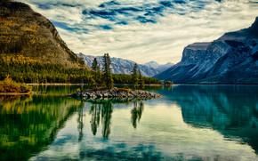 pôr do sol, lago, Montanhas, árvores, paisagem