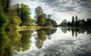 lago, alberi, paesaggio