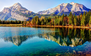 lake, Mountains, trees, landscape
