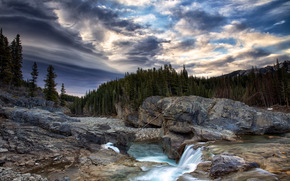 river, waterfall, Rocks, trees, sunset, landscape