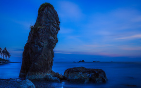 sea, shore, rock, sunset, landscape