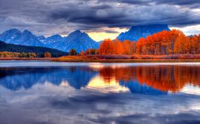 Ansa, Grand Teton, Wyoming, tramonto, osen.gory, lago, paesaggio