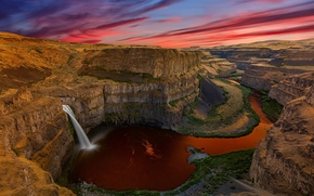 Palouse Falls, Washington, sunset, waterfall, Rocks, landscape