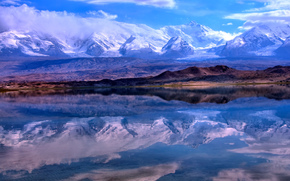 Pamir, Reflection Lake Karakul, Xinjiang