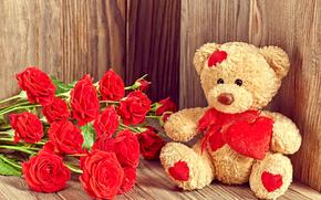 День Святого Валентина, цветы, розы, плюшевый мишка, мишка, медведь, игрушка