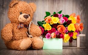 Valentine, Flowers, Roses, BUDS, Teddy Bear, Bruin, bear, toy