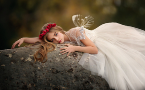 girl, dress, Wings, wreath, Roses, stone, mood