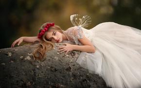 dziewczyna, ubierać, Skrzydełka, wieniec, Roses, kamień, nastrój