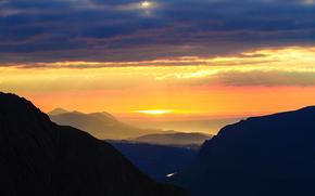 Personas par Kisenok, Montagnes, ciel, léger, air, coucher du soleil