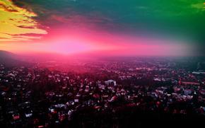 город, закат, панорама