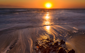 日没, 海, 波浪, 風景