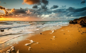 日落, 海, 波浪, 景观