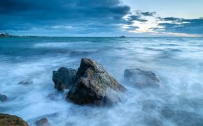 puesta del sol, mar, ondas, paisaje