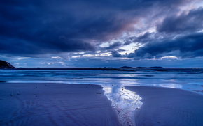 coucher du soleil, mer, ondulations, paysage