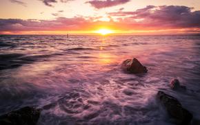 sunset, sea, waves, landscape