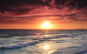 zachód słońca, morze, fale, krajobraz