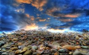 țărm, pietre, cer, peisaj