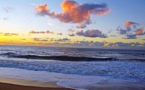 tramonto, mare, onde, paesaggio