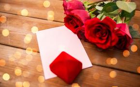 День Святого Валентина, розы, подарок, письмо