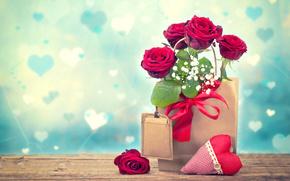 День Святого Валентина, розы, гипсофила, сердце, пакет