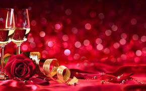 День Святого Валентина, розы, бутоны, шампанское, вино, бокалы, лента, тесьма, лепестки