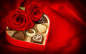 Valentine, Roses, BUDS, Candy, chocolate