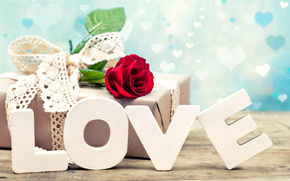 День Святого Валентина, роза, подарок, любовь, буквы
