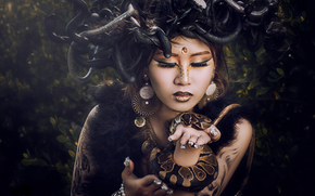 Medusa, girl, model, Asian, makeup, Snake, style