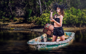 Medusa, girl, model, Asian, snake, chest, boat, water, style, situation