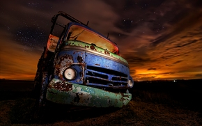 truck, rusty, night