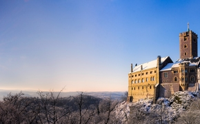Wartburg Castle, Eisenach, Thuringia, Germany, Thuringian Forest, Замок Вартбург, Айзенах, Тюрингия, Германия, горы Тюрингенский Лес, замок, горы, солнце, панорама