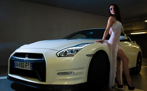 Nissan GT-R, Supercar, machine, Car, girl, pose, feet, shoes