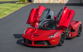 ferrari laferrari, Ferrari, LaFerrari, Sports car, red