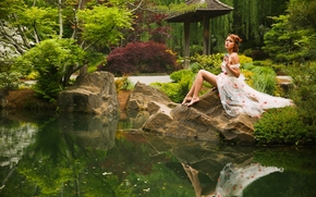 Elizabeth Hassell, model, pose, park, pond, reflection, nature, mood