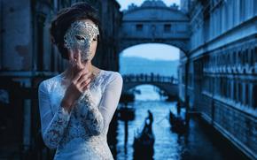 Wenecja, Włochy, Wenecja, Włochy, dziewczyna, panna młoda, maska, styl