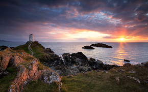 Anglesey and Llanddwyn Island, Mawr lighthouse, sea, sunset, lighthouse, landscape
