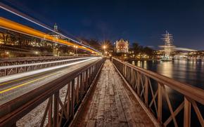 Stockholm, Suède, ville, nuit, lumières